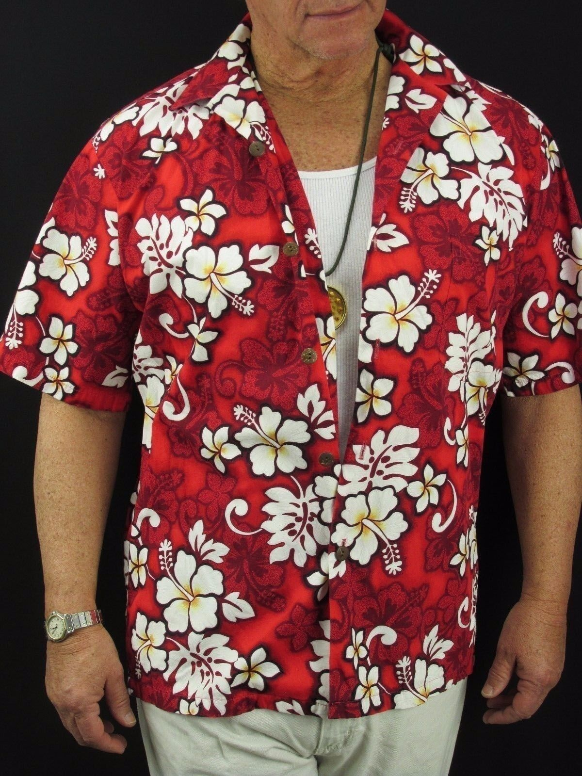 f9875e4b4ba13 Hawaiian Aloha Shirt VTG Hilo Hattie Red White Hibiscus Cotton Men's M H65