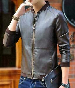 Coat-Men-039-s-Windbreaker-Leather-Jacket-Slim-fit-Biker-Motorcycle-Outwear-Jackets