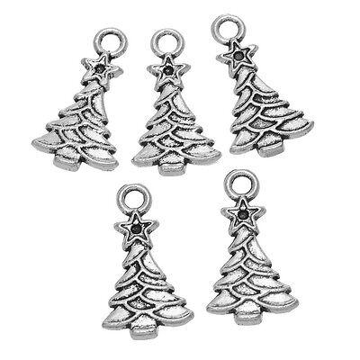 100PCs Christmas X-mas Charm Pendants Christmas Tree Pattern 20.5mm x11mm