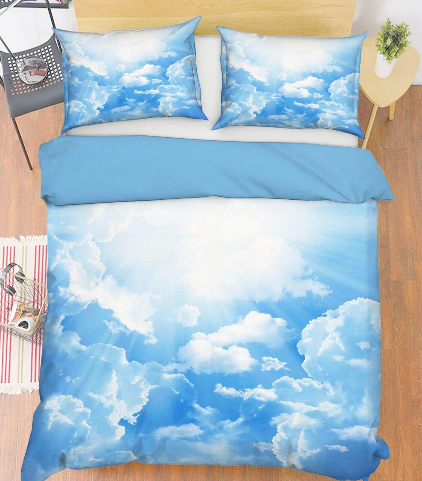 3D Blauer Himmel 21 Bett Kissenbezüge steppen Duvet Decken Set Single Königin DE