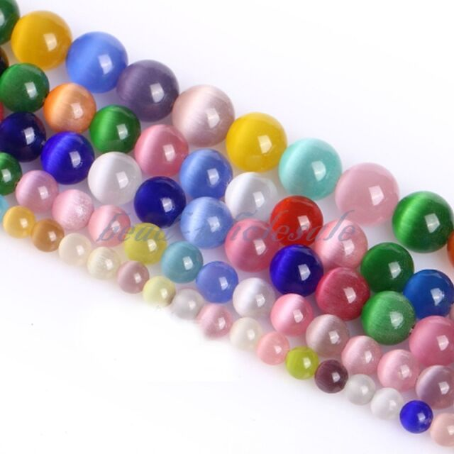 Wholesale Cat's Eye Round Ball Crystal Glass Loose Spacer Beads 8mm Mixed Color