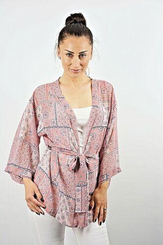 New Womens Pink+Blue Patchwork Print Chiffon Self Tie Waist Kimono Top Size 8-16