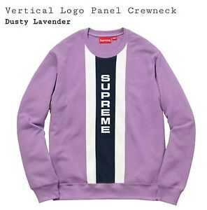 SS17 Supreme Vertical Logo Panel Crewneck