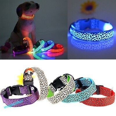 Colorful Pet Cat Dog LED Night Flashing Light Safety Nylon Leopard Neck Collar