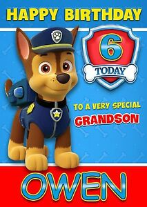 Image Is Loading PAW PATROL CHASE PERSONALISED Birthday Card AGE Son