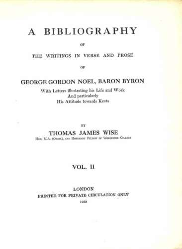 A bibliography of the writings in verse and prose of George Gordon Noel, Baron B