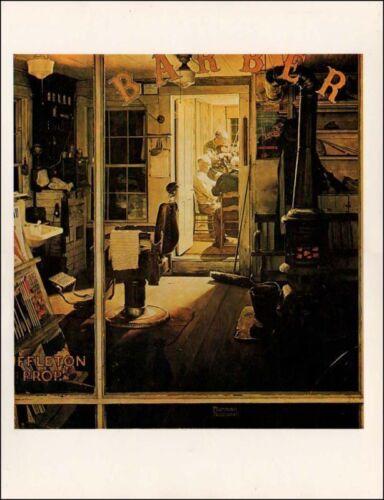 "Norman Rockwell print /""SHUFFLETON/'S BARBERSHOP/"" haircut 11/"" x 15/"""