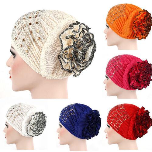 Women Hair Accessory Muslim Hijab Turban Head Wraps Hat Hot Drilling Bandana Cap