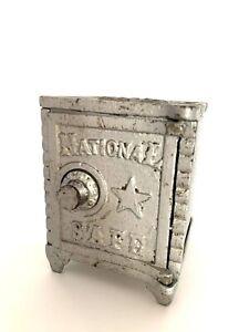 Antique-National-Safe-Coin-Piggy-Bank-Collectible-Safe-Vintage-Piggy-Bank-Opens