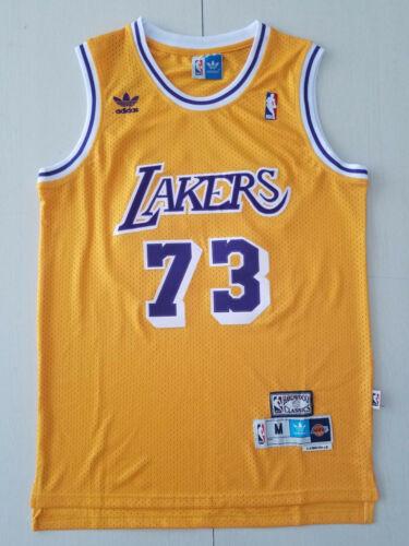 XXL Los Angeles Lakers # 73 Dennis Rodman Yellow Basketball Jersey Size S