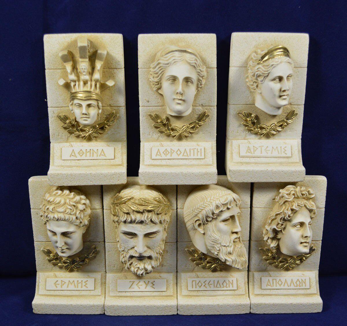 Athena Afrodita Artemis Hermes Apollo Poseidon Zeus Escultura Set