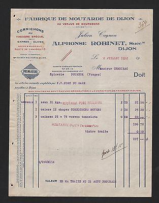 Hart Arbeitend Dijon, Rechnung 1932, Alphonse Robinet Fabrique De Moutarde De Dijon Angenehm Zu Schmecken