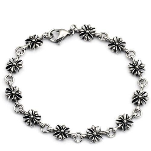 Armband Damen Mädchen Edelstahl silber Blume flower fleur Hippie Jugendstiel