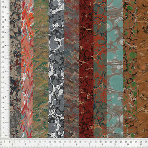 Hand-Marbled-Paper-Set-of-10-15x60cm-5-9x24in-Bookbinding-Restoration-Lot