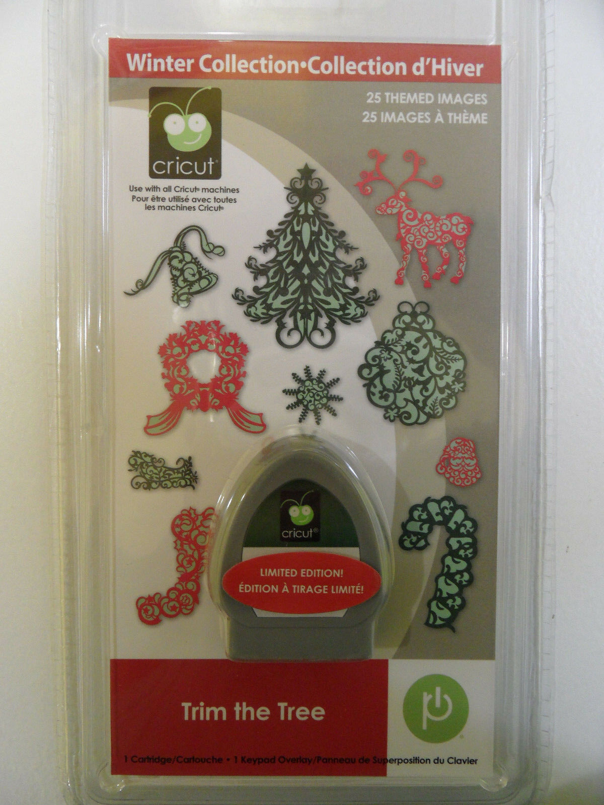 NEW SEALED WINTER COLLECTION TRIM THE TREE CRICUT CARTRIDGE DIE 25 THEMED IMAGES