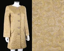 """JOVOVICH - HAWK """"GLADY"""" YELLOW GOLD QUILTED JACQUARD EVENING COAT SZ 4 RARE"""