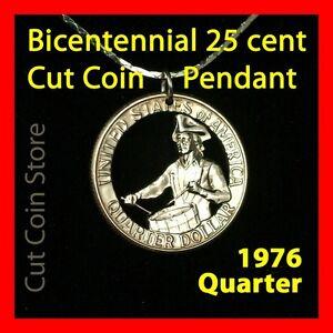 USA Quarter 25¢ Necklace 1976 Cut Coin Bicentennial Drummer