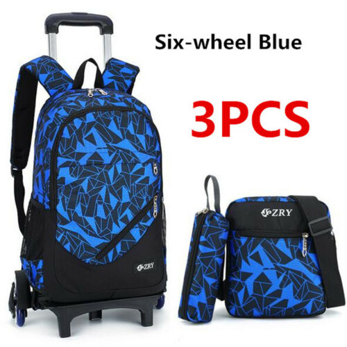 3PCS Kids Boy Students School Bag Removable Wheel Trolley Backpack Satchel  ~