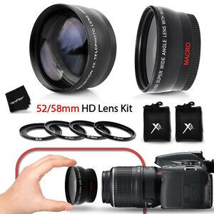 Details about 52/58mm Wide Angle + 2x Telephoto Lenses f/ Nikon D750 D7200  D7100 D7000 D810