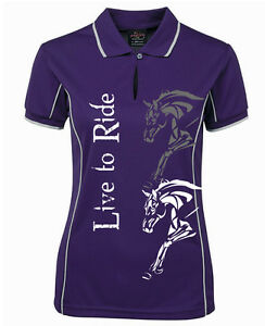 HEELS-DOWN-CLOTHING-LADIES-COOLDRI-034-LIVE-TO-RIDE-034-POLO-ALL-SIZES-AVAIL
