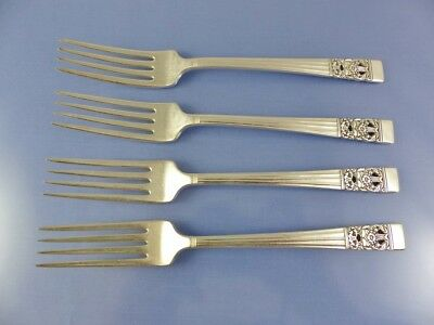 4  Dinner Forks Oneida Community CORONATION Vintage 1936 Art Deco Silverplate