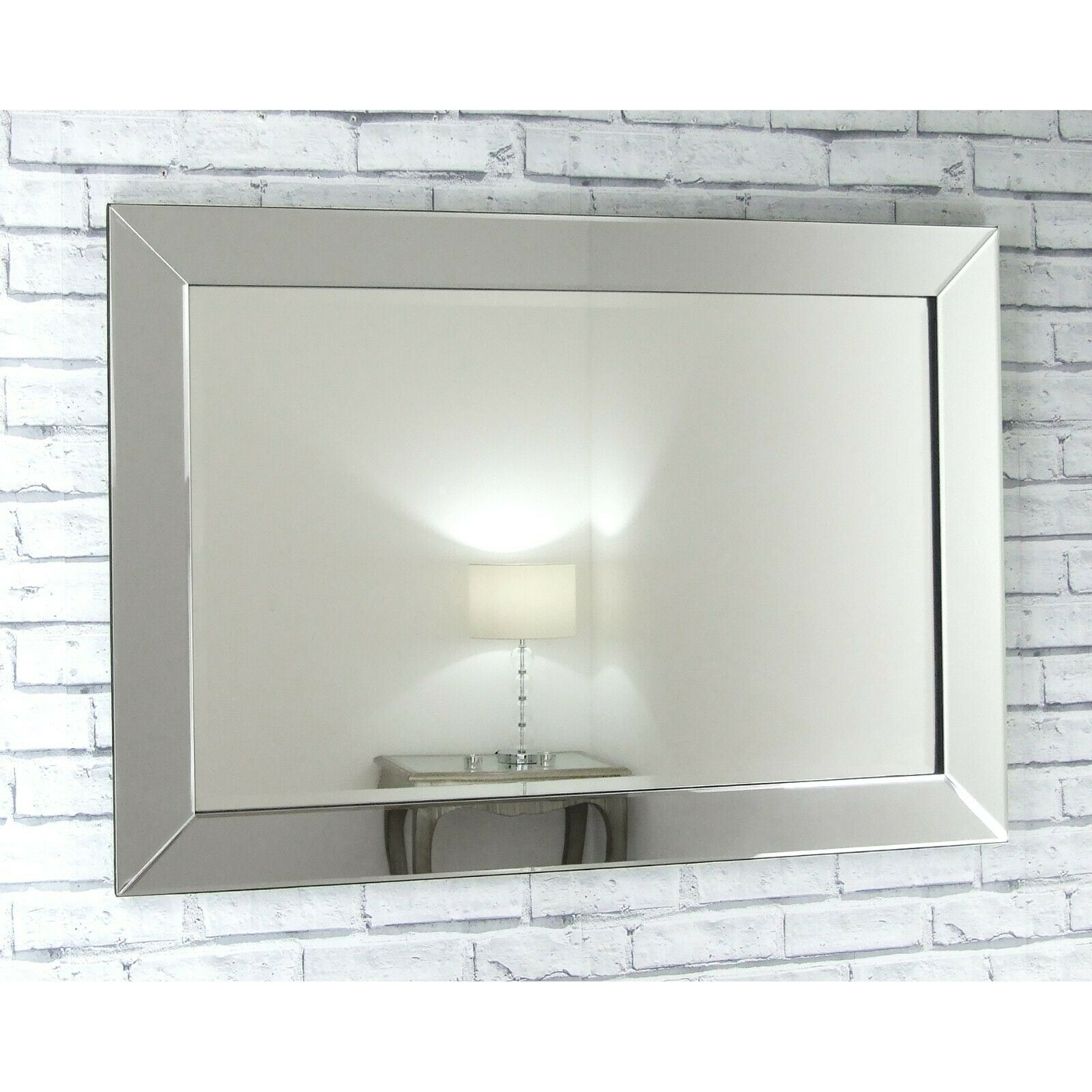Lara Extra Large Silver Glass Rectangle Wall Mirror 48 X 32 120cm X 80cm For Sale Online Ebay