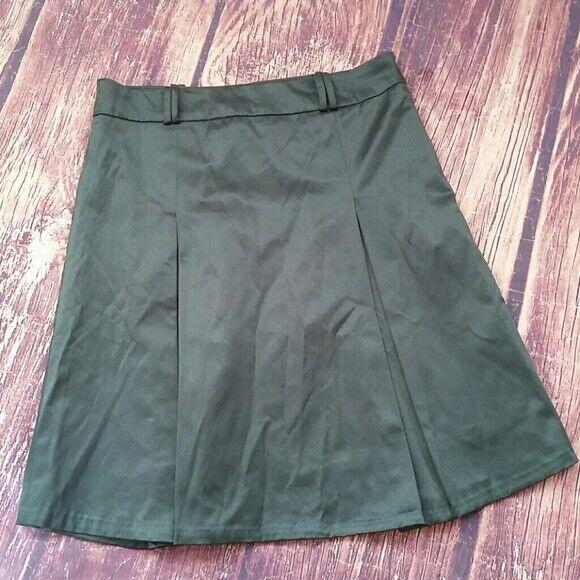Maeva army green pleated cotton skirt sz 8 (44 IT)
