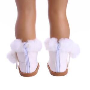 Chaussures-de-Poupee-Bottes-Blanc-Coton-Deco-pour-18-039-039-American-Doll-Poupee