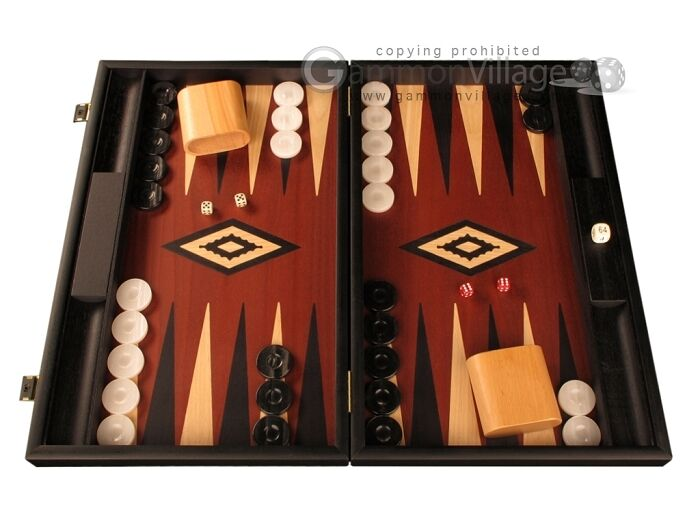svkonst trä Backgammon Set- röd Field- stor träen Board