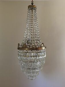 Antique french empire brass beaded basket crystal chandelier image is loading antique french empire brass beaded basket crystal chandelier aloadofball Gallery