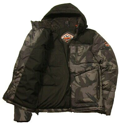 Superdry Men/'s Bold Yellow Camo SD Expedition Puffer Full Zip Hooded Coat