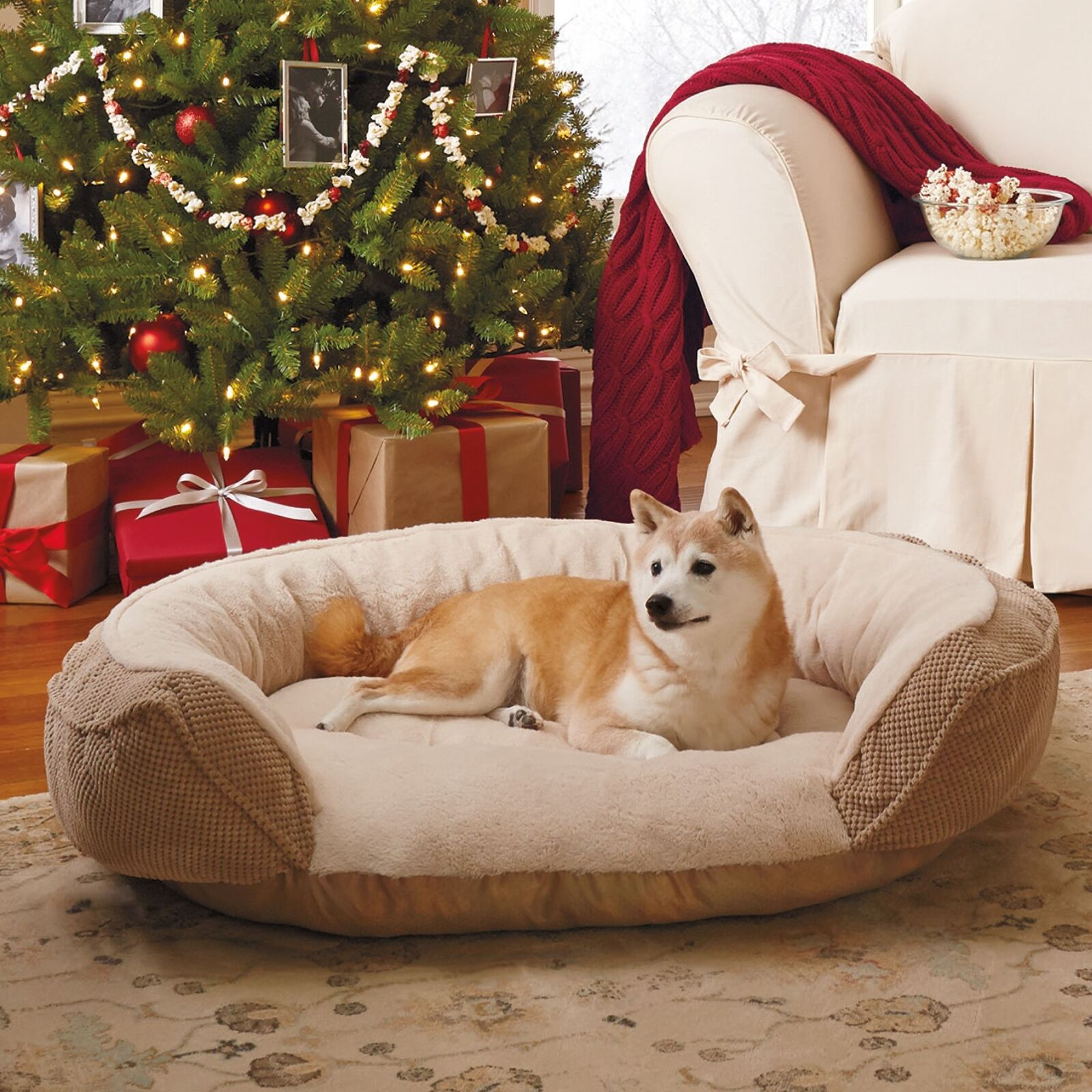 45-in Home Fabric Orthopedic Foam Polyester Pet Dog Warm Cushion Crate Sofa Bed