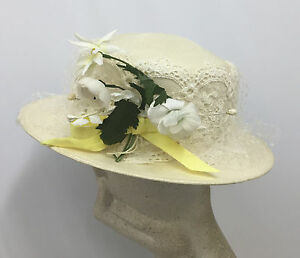 484006010492c3 VINTAGE FRANK OLIVE HAT OFF WHITE STRAW WHITE & YELLOW DAISY FLOWERS ...