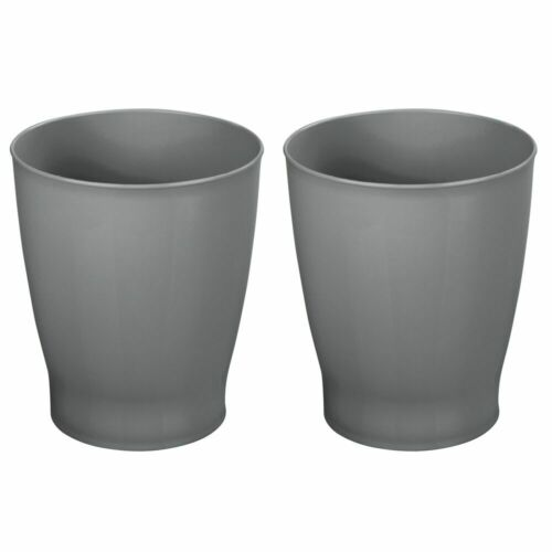 Dark Gray mDesign Plastic Small Round Trash Can Wastebasket Garbage Bin 2 Pack