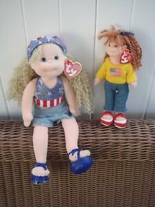 0ed3d0f86db 2 TY DOLLS BEANIE BOPPER STAR SPANGLED SUZY TEENIE BEANIE BOPPER ...