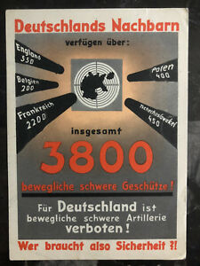 1934 munich Germany to Hamburg Postcard Cover Versailles Treaty Artillery ban