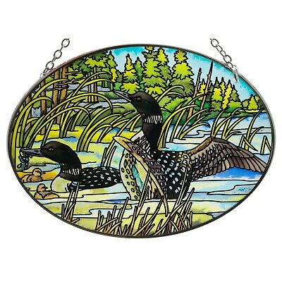 """Tranquil Water Loons Suncatcher Hand Painted Glass By AMIA Studios 4.5/"""" x 3.25/"""""""