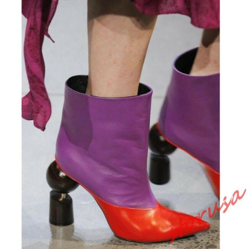 Womens Runway Pointy Toe Specific High Heels Ankle Boots Color Stitching Shoes