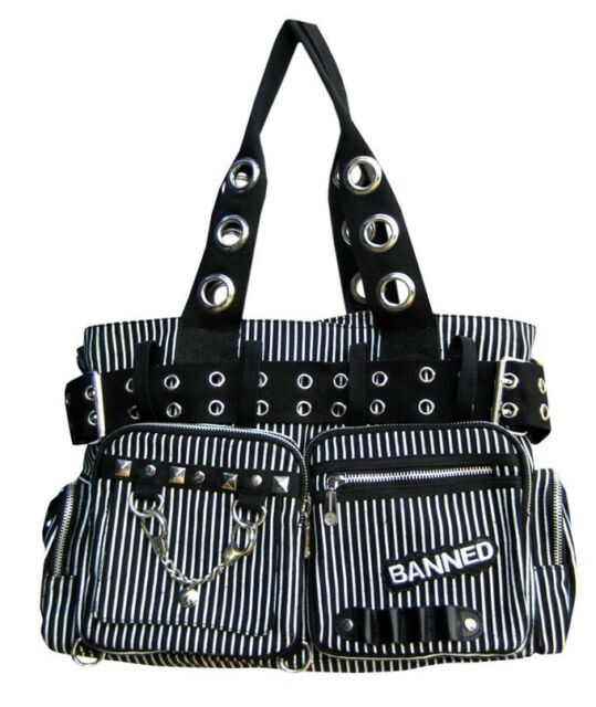 BANNED STRIPED SHOULDER BAG Handcuff Canvas Handbag Gothic Rock black White
