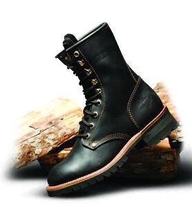 Men's Black durable Leather Steel Toe Work Boots BONANZA 901 ...