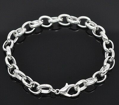 Silver Plated Lobster Clasp Bracelets for Charms 18cm-21cm