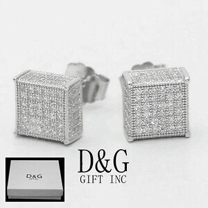 4690367c26891 Details about DG Men's 6mm Sterling Silver 925 Square Screw-back Earring  Unisex~Box