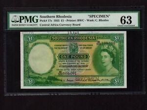 Southern Rhodesia:P-17s,1 Pound,1955 * Specimen * QEII * PMG Ch. UNC 63 *