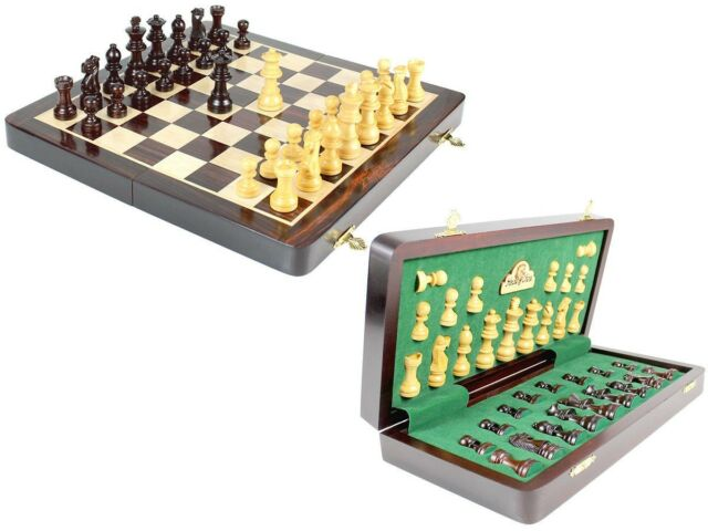 """Wooden Chess Set Travel Magnetic Folding Board Rose wood 12"""" + 2 Extra Queens"""