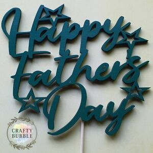 Happy-Father-039-s-Day-Cake-Topper-any-colour-HAND-MADE-WOODEN-NOT-CARD-keepsake
