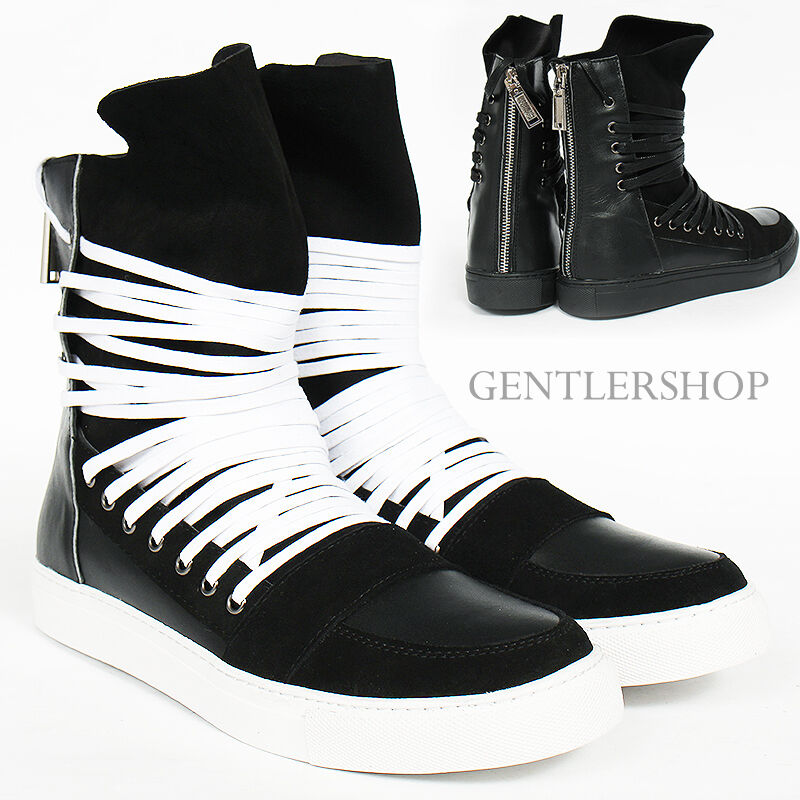 Scarpe casual da uomo  Avant Garde uomos Over Lace Long Tongue Hight Top Leather Sneakers 123, GENTLER