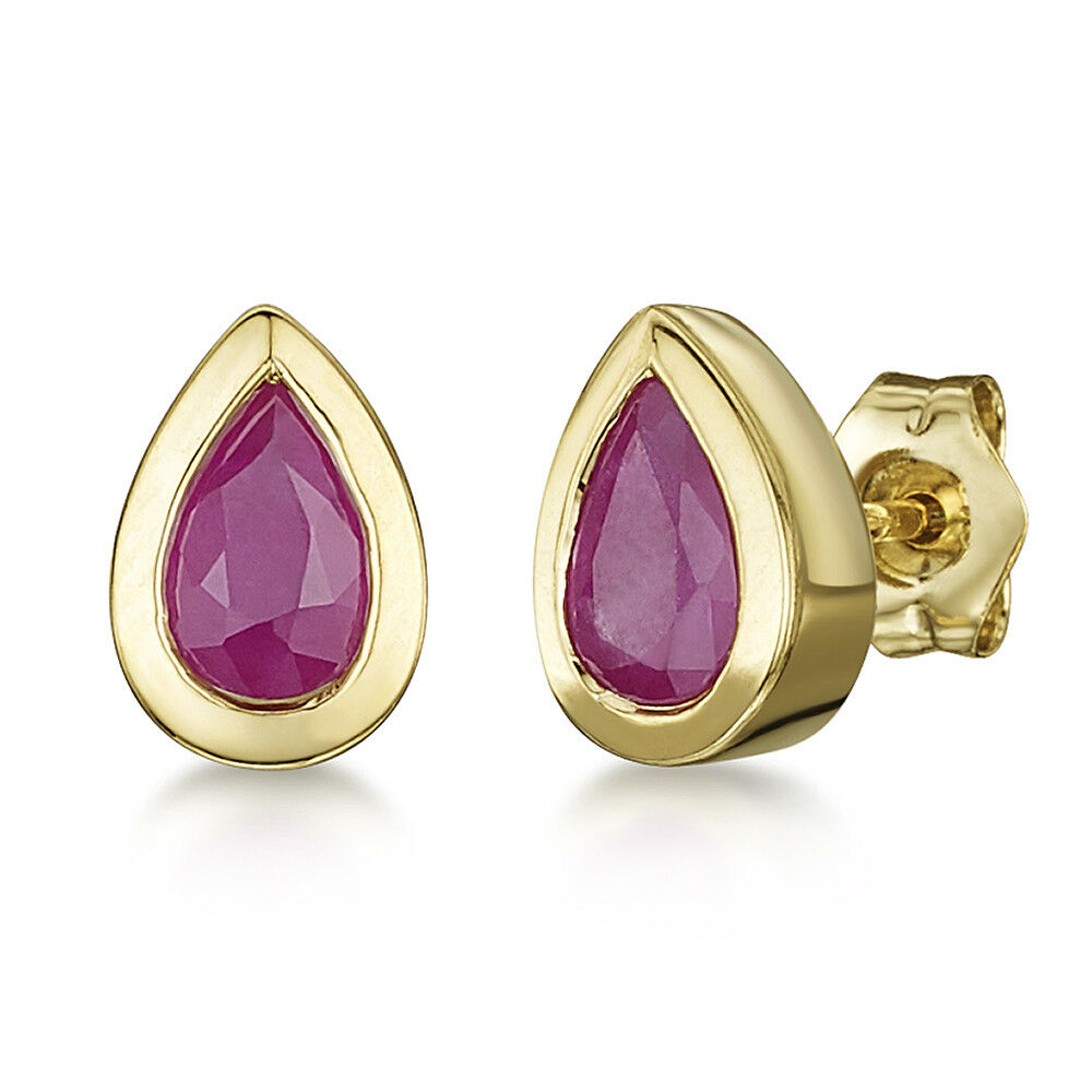 9ct gold Pearshape Earrings Rubover Set Ruby Stud Womens Ladies Earrings 6x4mm