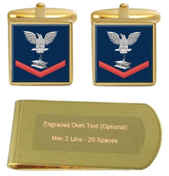Manschettenknöpfe Graviert Geldklammer U.s Marineblau Rot E-4 Stahl Arbeiter Sw