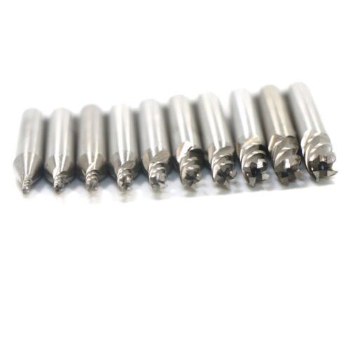 10pcs//set 1.5-6mm HSS Straight Shank 4 Flute End Mill Cutter CNC Drill Bit Tool