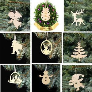 30pcs Set Wooden Cutout Hanging Pendant Gift Tags Christmas Tree Decoration